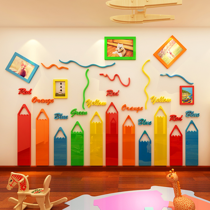 Colored Pencils Cartoon 3D Acrylic Wall Stickers For Kids Room Living Room Kindergarten Frame Decoration DIY Art Wall Decor