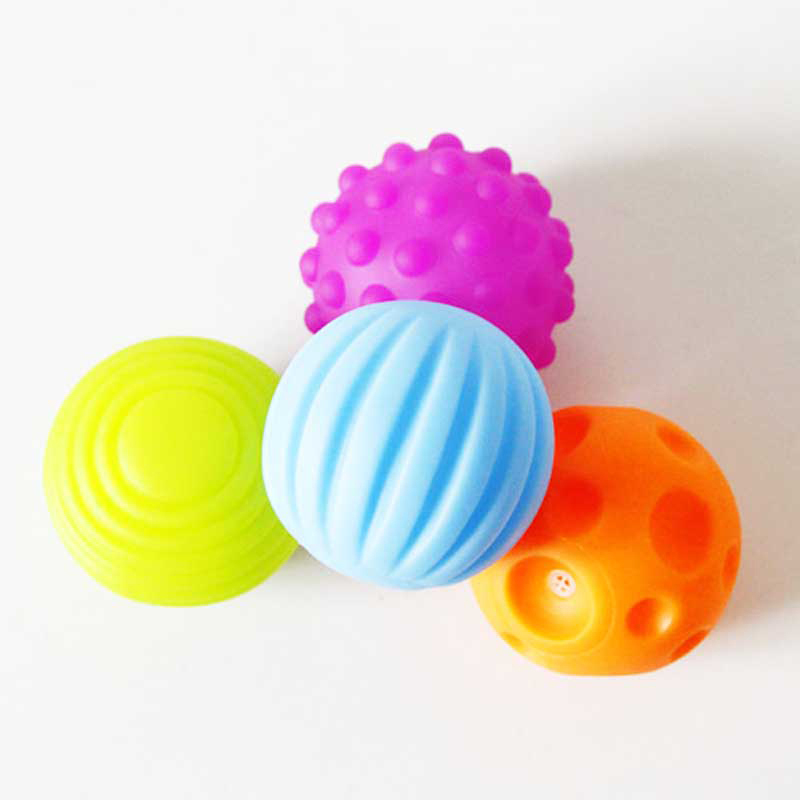 4 PCS Baby Touch Hand Ball Toys Training Ball Massage Soft Early Education Ball W30 ...
