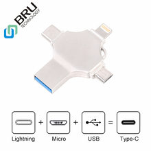 BRU 16G 32G 64G 128 GB OTG USB флэш-накопитель для iPhone5S/6/6 S/6 plus/7/7 Plus/8 pluxx Android type-C 4в1 Флешка-ручка логотип на заказ
