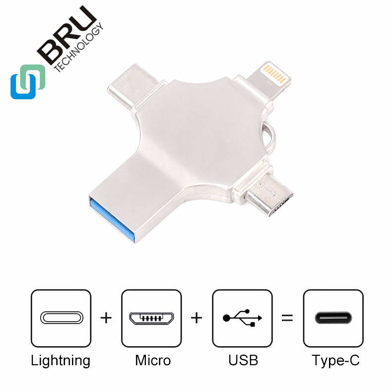 BRU 16G32G64G128G256GB OTG USB Flash Drive for iPhone 5/6S/7Plus/8X iPad Type-C android 4in1 pendrive Memory stick Custom Logo