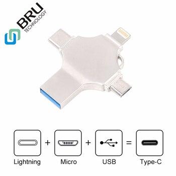 BRU 64 32 16G G G 128GB OTG USB Flash Drive para iPhone5S/6/6 S /6 plus/7/7 Plus/8 plusX Android-Tipo C 4in1 pendrive Logotipo Personalizado vara