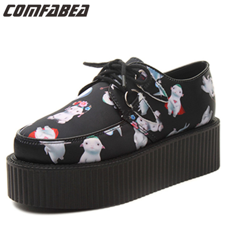 The Newest design women cartoon platform creepers fashion Harajuku lace up goth punk shoes pattern shoes for woman leisure platform and cartoon pattern design slippers for women