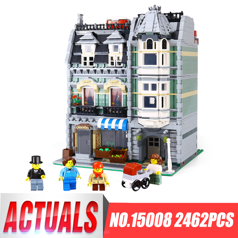 IN STOCK LEPIN 15008 2462Pcs City Street Green Grocer Model Building Blocks Bricks Children Toy Gift Compatible LegoINGlys 10185 lepin 15008 new city street green grocer model building blocks bricks toy for child boy gift compatitive funny kit 10185 2462pcs