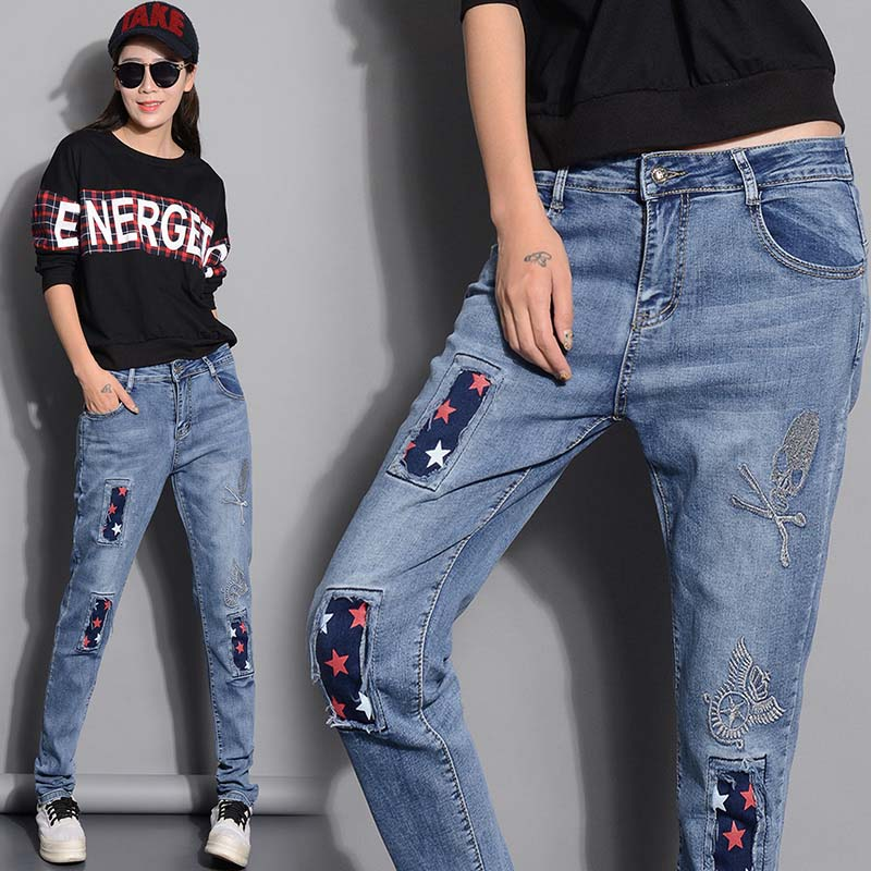 2016 ripped jeans for women the new baggy embroidery denim harem pants trousers vaqueros mujer jean
