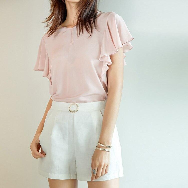 Shorts di Seta delle donne di Seta Reale di 50% 50% Cotone Bianco pantaloni di scarsità della signora Dell'ufficio OL di stile 2017 di Estate Nuovo-in Pantaloncini da Abbigliamento da donna su  Gruppo 2