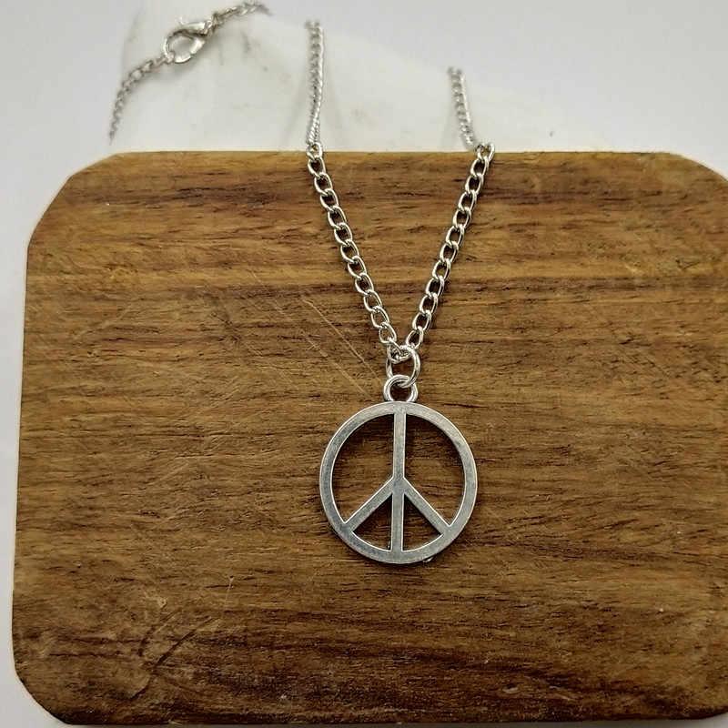 Nova moda símbolo da paz pingentes cruz corrente curta longa das mulheres dos homens colar de prata jóias presente