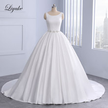 Vintage Style Scoop  A-Line Wedding Dress Court Train Beading Crystals Pearls Bride Dresses With Backless Floor-Length Liyuke