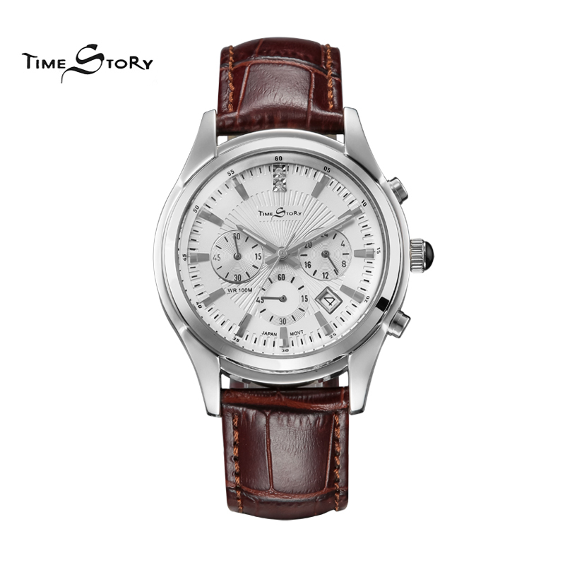 2015 new High Grade Brand British Noble Style Mens Genunie Leather Band Steel Case Three Eyle Analog Mineral Glass Wrist Watches