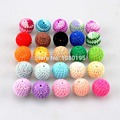 50Pcs Crochet Round Wooden Beads crochet colour Mix Ball Knit 20mm for decoration inside hot wooden teething crochet beads