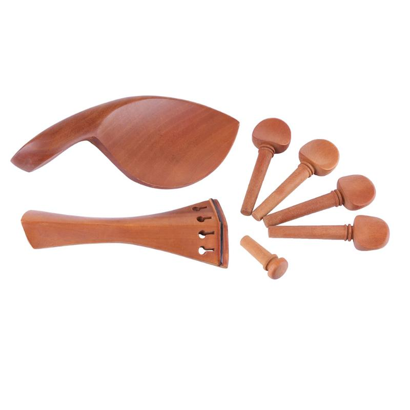 High quality 1Set Jujube Violin Parts Chinrest Drawplates Knob Tailpiece and Pegs for 3/4 4/4 Violin accessories