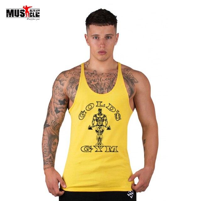 Homens Colete de Fitness Musculação Gymwear Aptidão Regata Singlet Golds  Deepcut Roupas Sem Mangas de Algodão 5b6de2fbf18