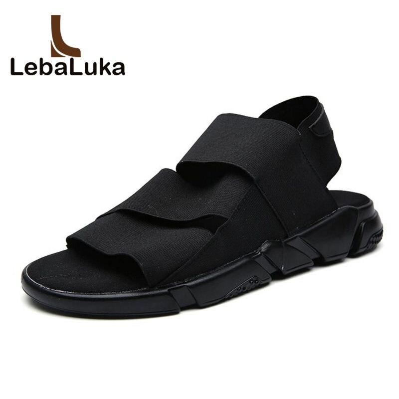 LebaLuka Novelty Men Flats Sandals Soft Elastic Band Ankle Strap Sandals Fashion Men Essential Shoes Male Footwear Size 39-44
