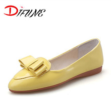 2016 Free shipping spring summer autumn bowtie patent leather shoes Fashion pointed toe women shoes ballet flats for ladies
