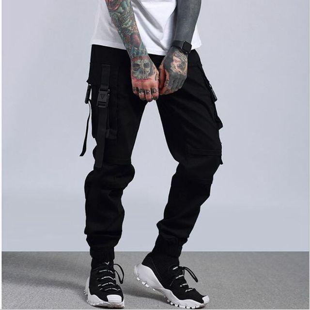 9e82c017b362 Man Large Pocket Spliced Camouflage Cargo Pants Feet Locomotive Fashion  Trousers Streetwear Men s Wild Casual Pants