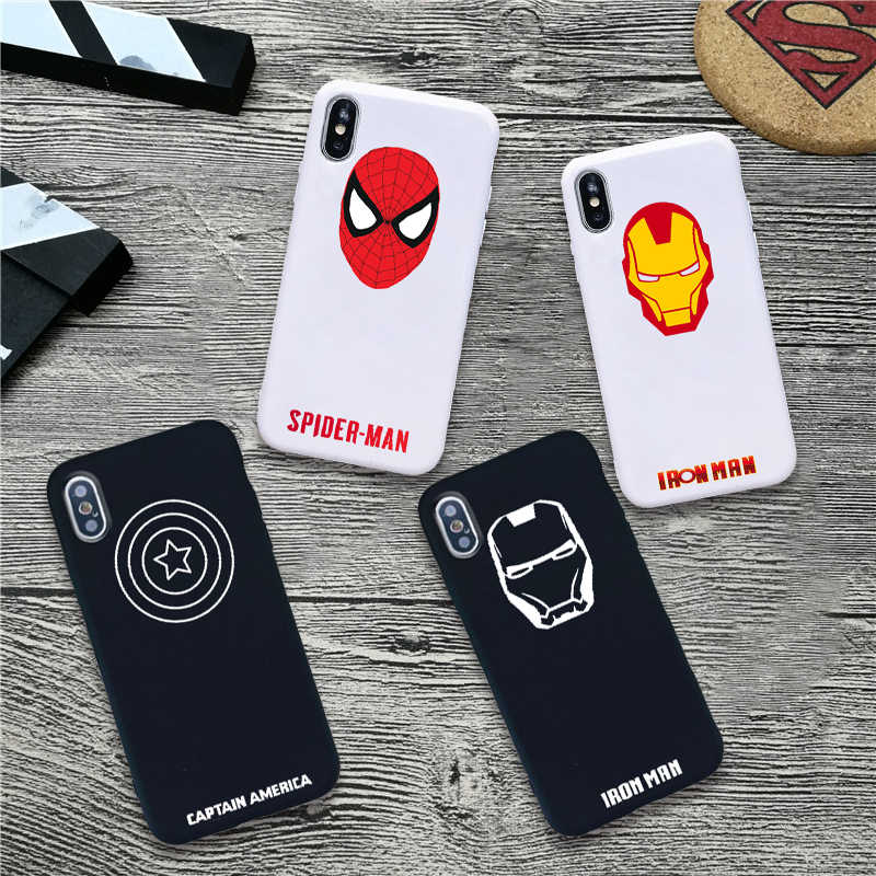 captain america Iron Man Spider-Man soft Silicone Candy Color cover phone case for iPhone X XR XS MAX 6 7 8 plus 6s TPU