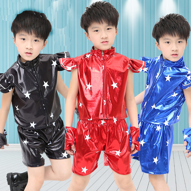 2016 spring summer Kid's clothing set Costumes jazz Hip Hop Black Red Blue Star dance Pants & T-shirt kids dance suits twinset 2016 kids adults spring summer geometric star set black costumes hip hop dance pants