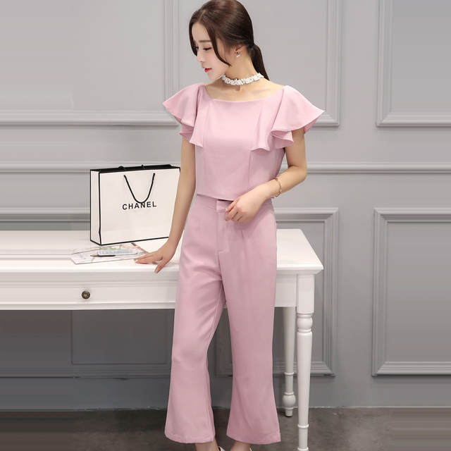 bc19ceac83d placeholder 2 Piece Set Women Crop Top Blouse And Loose Pant Falbala  Chiffon Bell-Bottomed Pants
