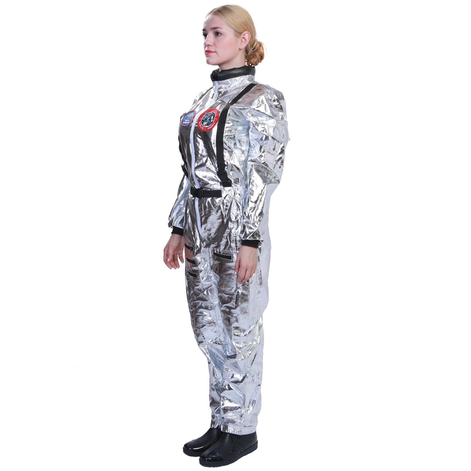 9eb7dd8d45ee Astronaut Jumpsuit Costume Cosplay Space Suit White Shuttle NASA Moon  Halloween Unisex Props Man Women Kids-in Movie   TV costumes from Novelty    Special ...