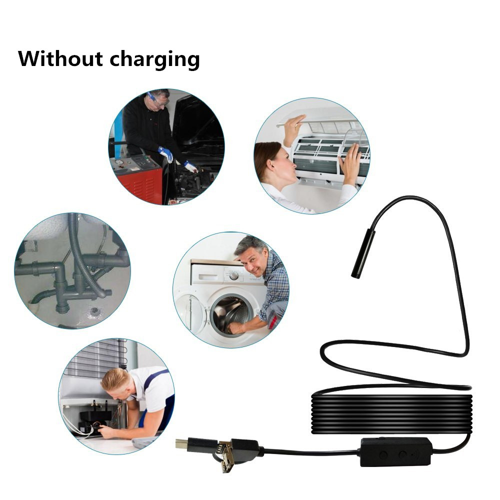 3in1 WIFI Endoscope for android Mini Camera Waterproof Hard Cable Inspection Camera 8mm USB Endoscope Borescope For Iphone|Mini Camcorders|Consumer Electronics - title=