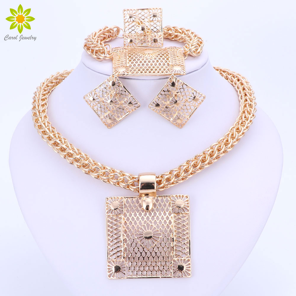 Fashion Jewelry Sets Big Square Pendant Necklace Earrings Bracelet Ring Dubai Gold Color African Costume Jewelry Sets For Women