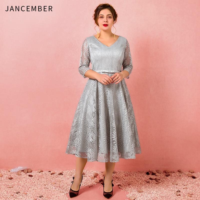 JANCEMBER Plus Size   Cocktail     Dresses   Illusion Three Quarter Sleeve V-Neck Bow Belt Lace Up Back A-Line Applique robe de   cocktail