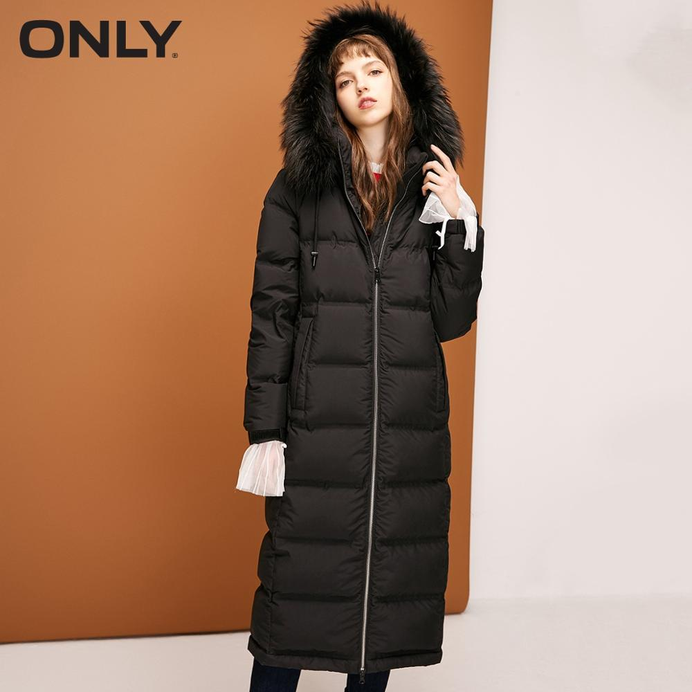 ONLY  Womens' Winter Duck Down New Thick Velve Over The Knee Long Down Jacket Light And Comfortable Adjustable Cuffs|118412503