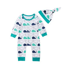 9540f831c Lindo bebé recién nacido bebés ballena Romper sombrero Jumpsuit trajes  Sunsuit ropa 2 piezas manga larga ropa bebé niña 0-24 m