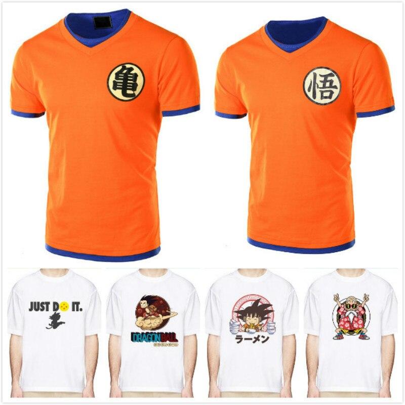 Japanese Harajuku Seven Dragon Balls Wuwu Character Printing Short-sleeved T-shirts for Men with Loose Half-sleeves t shirt men