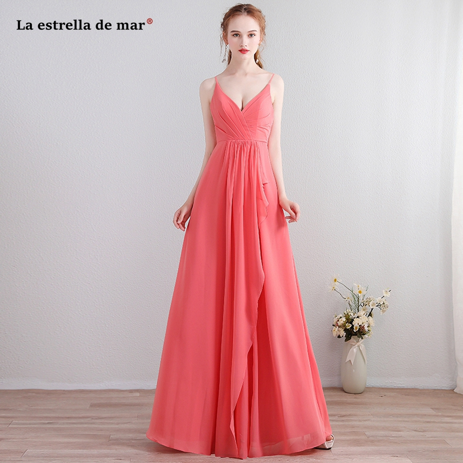 Robe demoiselle d'honneur pour femme 2018 new chiffon sexy V neck Spaghetti Straps a line watermelon red   bridesmaid     dresses   long