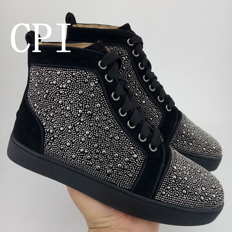 Casual Black Men's Sneakers High Top Flock Leather Rivets Round Toe Flats Shoes Man Lace Up Zapatos Hombre Top Quality black girl crown crystal barrettes hair accessories shiny rhinestone crystal crown bridal wedding tiara flower child hair ornament