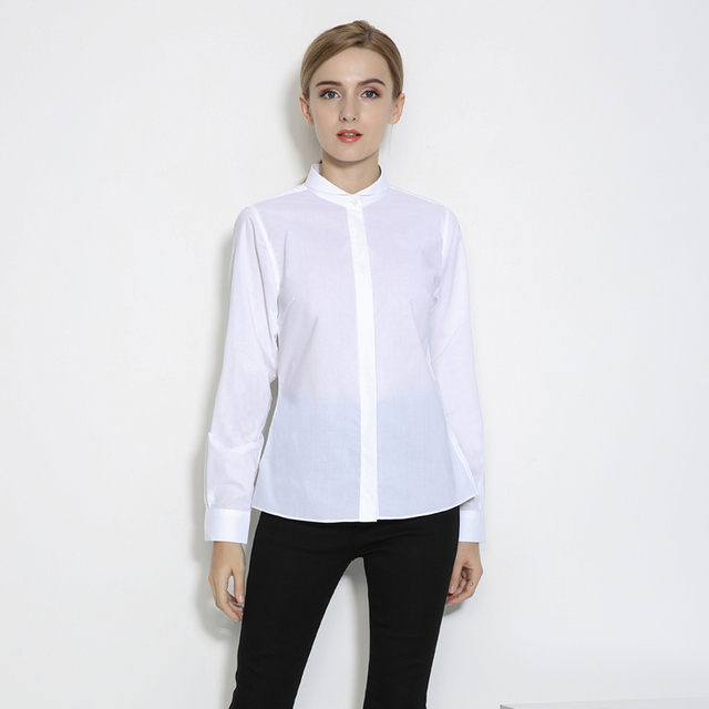 DANIELKATE new women white blouse solid long sleeve cotton tops brand clothing  ladies office fashion trends elegant business c74e40ae8