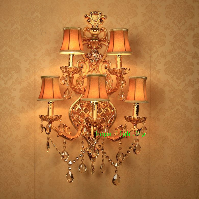 Simple Fabric Tall Wall Light: Indoor Wall Sconces Crystal Wall Lamp With Fabric Shade