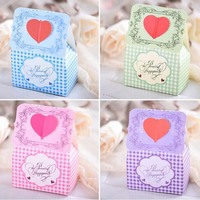 4 Colors Pick 50pcs Personalized Heart Shape Wedding Favors Box Candy Box Gift Boxes Wedding Party