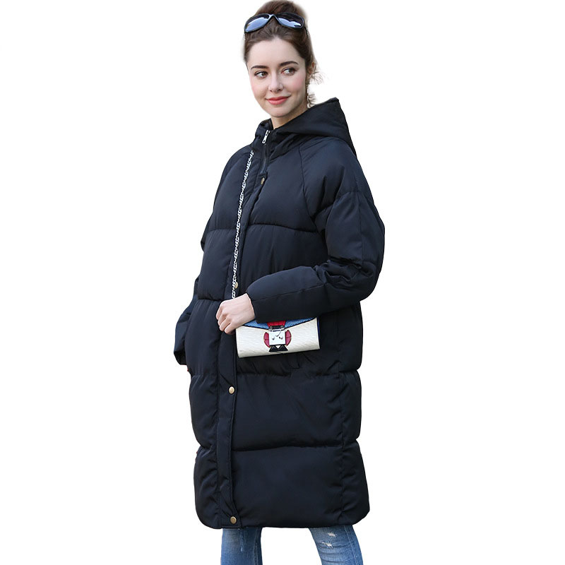 2018 Autumn Winter Collection Loose Fit   Parkas   Women Long Style Coat Outerwear Woman New Style Jacket