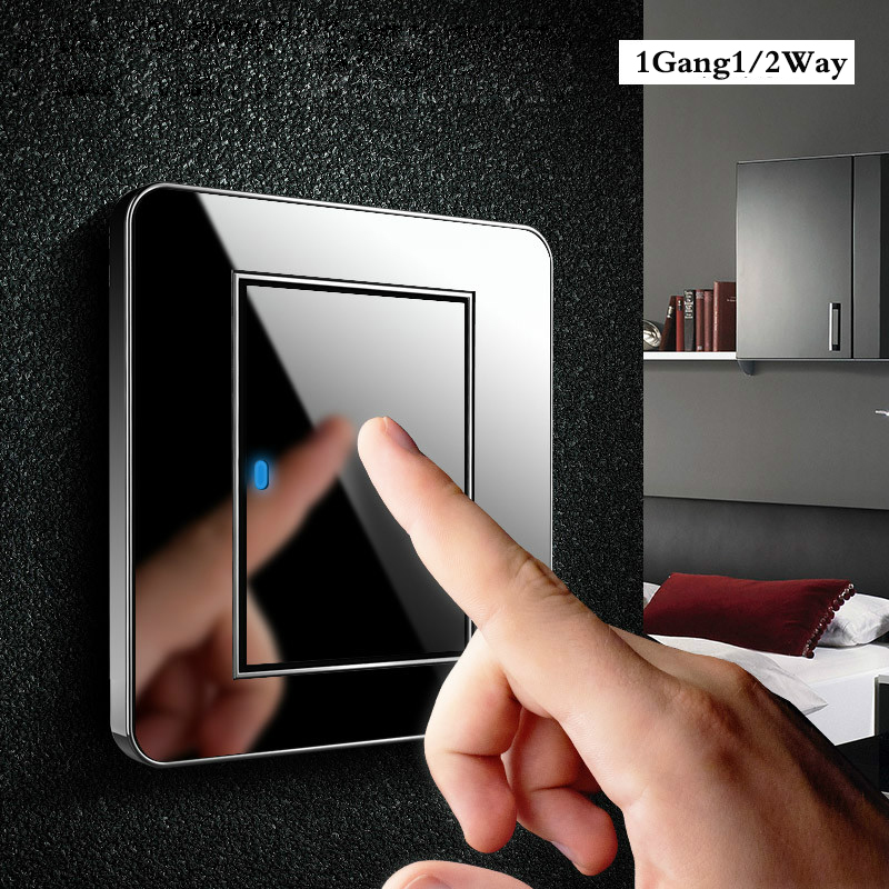 Tap <font><b>switch</b></font> <font><b>at</b></font> any point Type 86 Black Mirror Glass 1Gang 1Way 2Way Wall <font><b>Switch</b></font> Panel with led fluorescent image