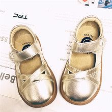 2018 Fashion designer SCHOOL boys girls leather kids shoes for boys girls kids children shoes Yellow Gold