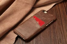 100% Genuine Leather Back Cover Case for iPhone 6 for iPhone 6 Plus Simple Style Design Phone Back Cover Case with Card Slot