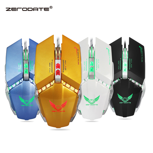 ZERODATE Wired Gaming Mouse 8 Macro Programmable Buttons Adjustable 3200DPI with Respiration LED Light Mouse PC Laptop