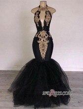Halter Mermaid Black Prom Dresses