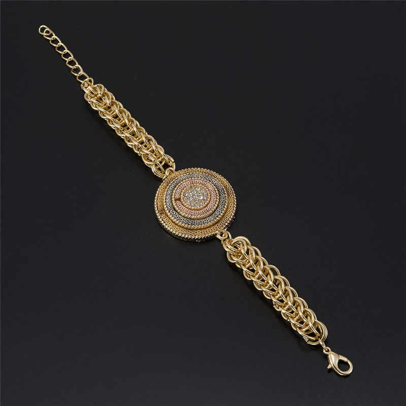 BAUS סיטונאי 2017 תכשיטים חדשים קובע עגילי שרשרת גדולה אופנה סט תכשיטי זהב דובאי האפריקאי צהוב מצופה זהב לולאות