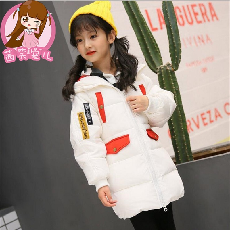 2017 new Hooded Girls Winter Coats And Jackets Outwear Warm Long Down Jacket Kids Girls Clothes Children  Baby Girls Clothing girl coat winter duck down and jackets kids outwear warm jacket girls clothes parkas children baby girls clothing with hooded