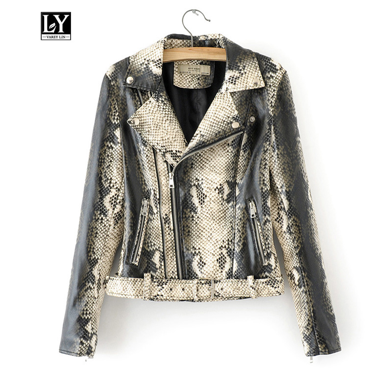 Ly Varey Lin Women Faux Soft   Leather   Jacket Black Punk Short Coats Zipper Turn-down Collar Faux Snakeskin With Belt Outerwear