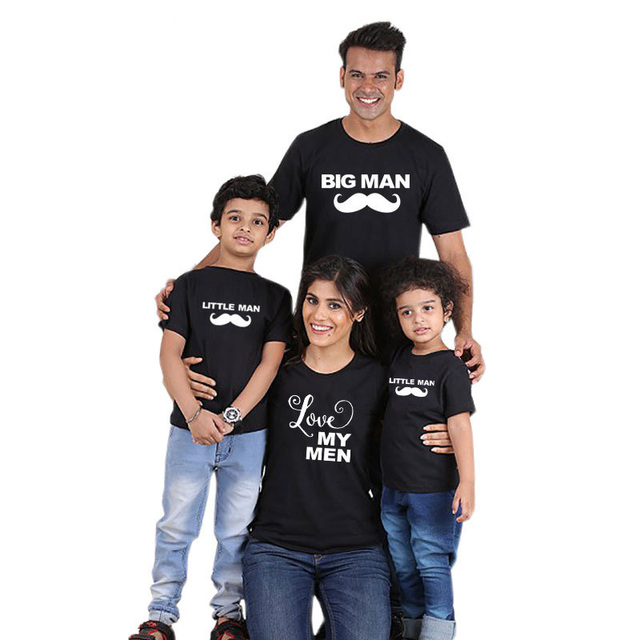 aa26c40f 1PC Mom And Daughter Clothes Big Little Man Father Son Matching Clothes  Black t shirt Family Look Printed tshirt Girl and Boy