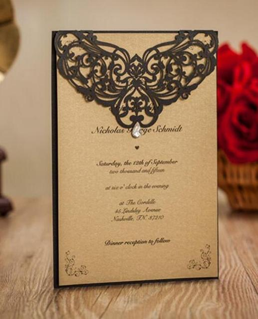 Shining Black Wedding Invitation cards with rhinestone ,laser cut