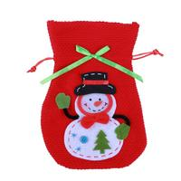 Red Christmas Navidad Snowman Pattern Knitted Gift Presents Bag Holder Organza Bag New Year Festive Dinner Xmas Party Pendant
