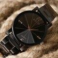 Venta en línea Negro de Cristal de Acero Inoxidable Reloj de Pulsera Reloj De Cuarzo Simple Hombre Mujer Elegante Único Popular Reloj