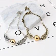 53fb94b58383 Caliente Harry vender reliquias de Snitch dorado pulsera para los hombres y  las mujeres lindo bola cadena alas pulseras regalos