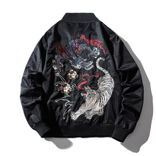 Embroidery Mens Bomber Jacket Dragon Tiger Autumn Winter Pilot Jacket Men Hip Hop Japanese Baseball Youth Jacket Streetwear 2019