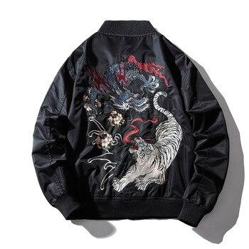 Embroidery Mens Bomber Jacket Dragon Tiger Autumn Winter Pilot Men Hip Hop Japanese Baseball Youth Streetwear 2019 - discount item  30% OFF Coats & Jackets