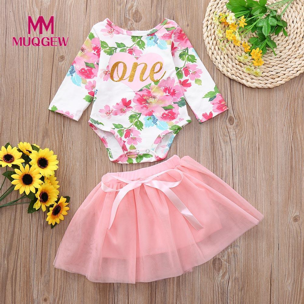 MUQGEW Baby Girl Clothes Set 2Pcs 0-24M Infant Girl Floral Print Romper Tulle Tutu Skirt Outfits Set Baby Autumn Costume /PY
